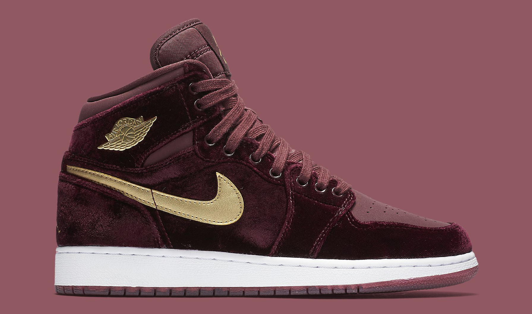 Image via Nike Red Velvet Air Jordan 1 Heiress 832596-640 Profile 96337dd88
