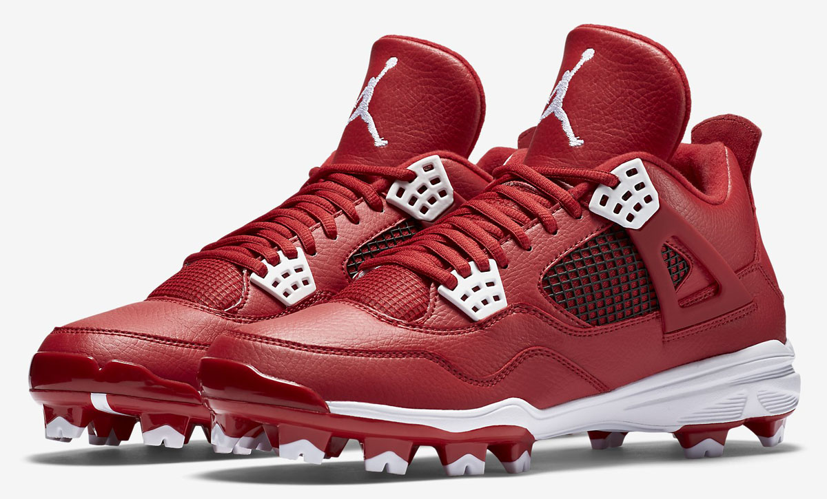 Air Jordan 4 Baseball Cleats Red/White (1)