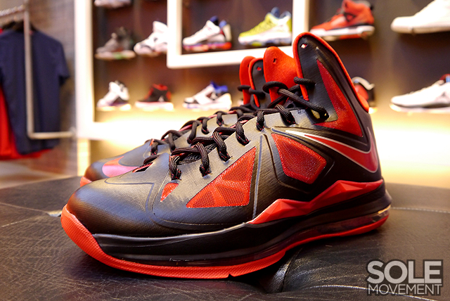detailed look 23099 23606 11 05 2012 Nike LeBron X 541100-006 Black University Red-Metallic Silver   180.00