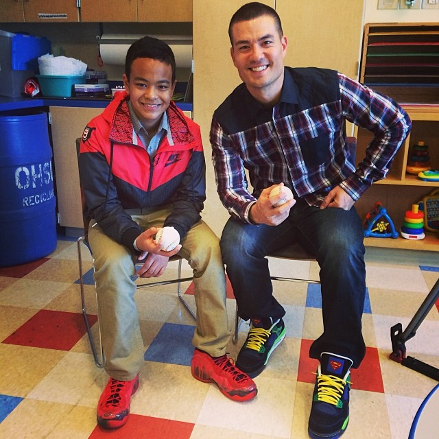 Jeremy Guthrie wearing Air Jordan 4 Doernbecher; Elijah Diggins wearing Nike Air Foamposite One Doernbecher