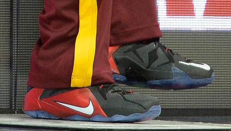 LeBron James wearing Nike LeBron XII 12 Black/Red PE on December 17, 2014