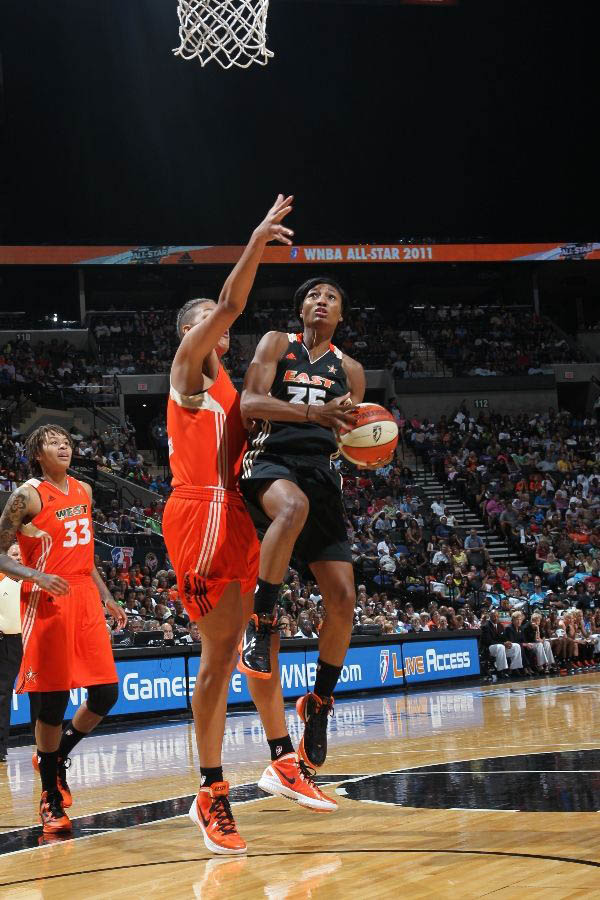 Angel McCoughtry wearing the Nike Zoom Hyperdunk 2011