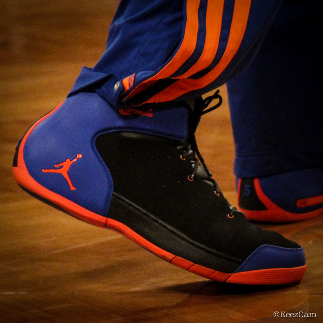 SoleWatch // Up Close At Barclays for Nets vs Knicks - Carmelo Anthony wearing Jordan Melo 1.5 Knicks Away