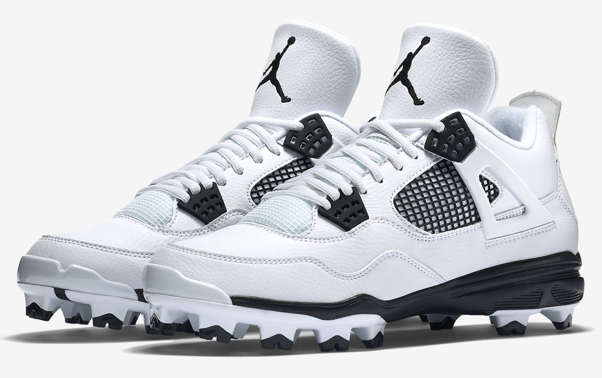 Air Jordan 4 Baseball Cleats White/Black (1)