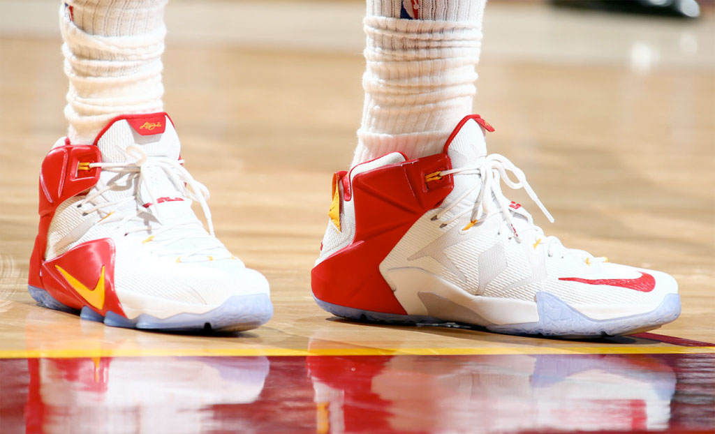 LeBron James wearing a White/Red-Yellow Nike LeBron 12 PE (2)