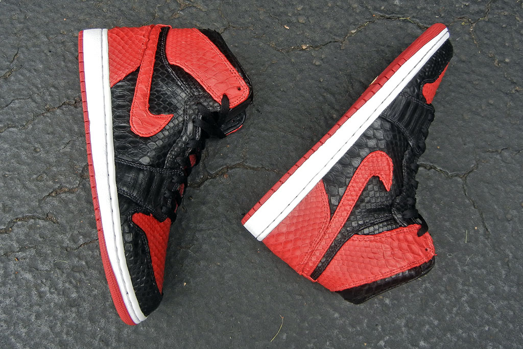 Air Jordan 1 'Bred' Python by JBF Customs (7)