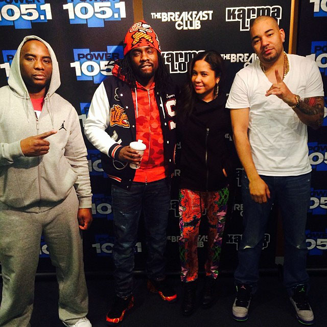 Wale wearing Supreme x Nike Air Foamposite One; DJ Envy wearing Air Jordan 5 Retro Fresh Prince
