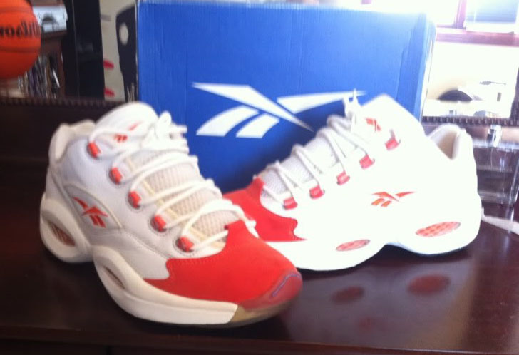 Reebok Question Low White/Red Suede