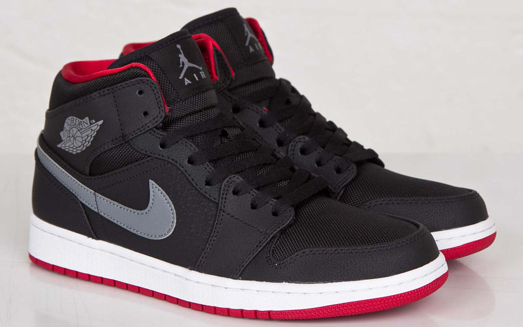 Air Jordan 1 Mid Black Cool Grey-Gym Red 554724-004 (1 db51866fce4