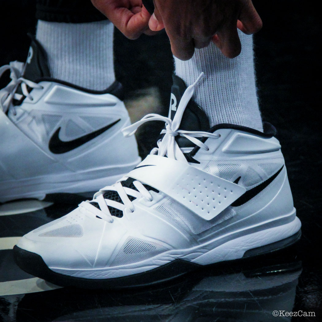 Sole Watch // Up Close At Barclays for Nets vs Cavs - Paul Pierce wearing Nike Air Legacy 3 Home