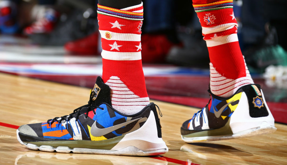 9d97413a1d4 via NBAE 2016 · Kevin Durant Wearing the  All-Star  Nike KD 8 (2)