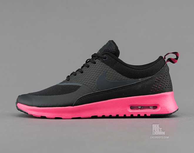 womens nike air max thea - black/anthracite/fusion red cross