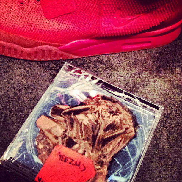 Kanye West wears Nike Air Yeezy 2 All-Red