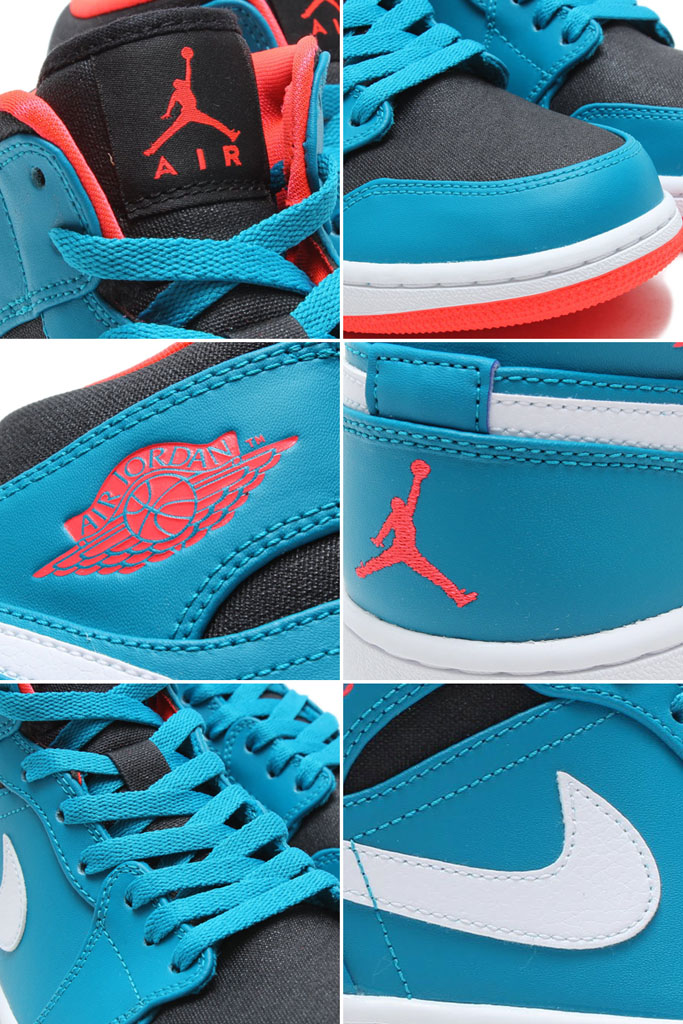 Air Jordan I 1 Mid Tropical Teal/Infrared 23-Black-White 554724-308 (3)