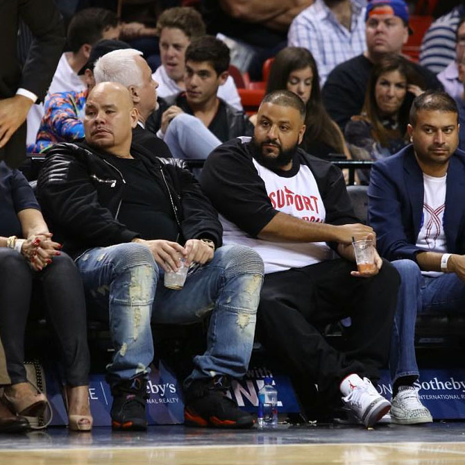 Fat Joe wearing the 'Terror Squad' Air Jordan 8 Fred Jones PE & DJ Khaled wearing the 'Cement' Air Jordan 3