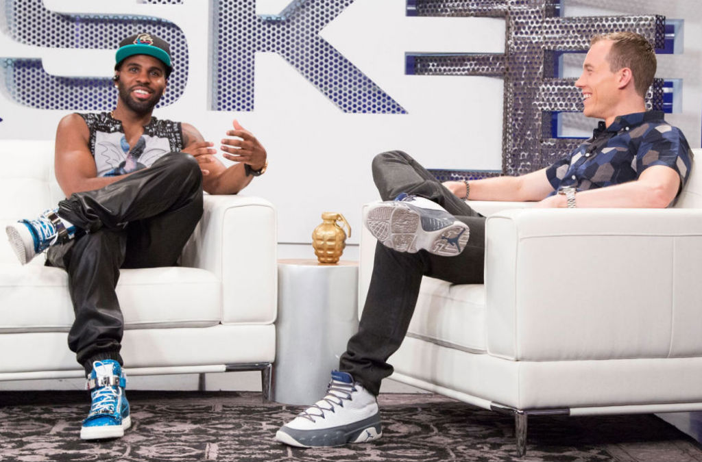 DJ Skee wearing Air Jordan 9 IX Retro Flint; Jason Derulo wearing Giuseppe Zanotti Zip-Up Sneakers