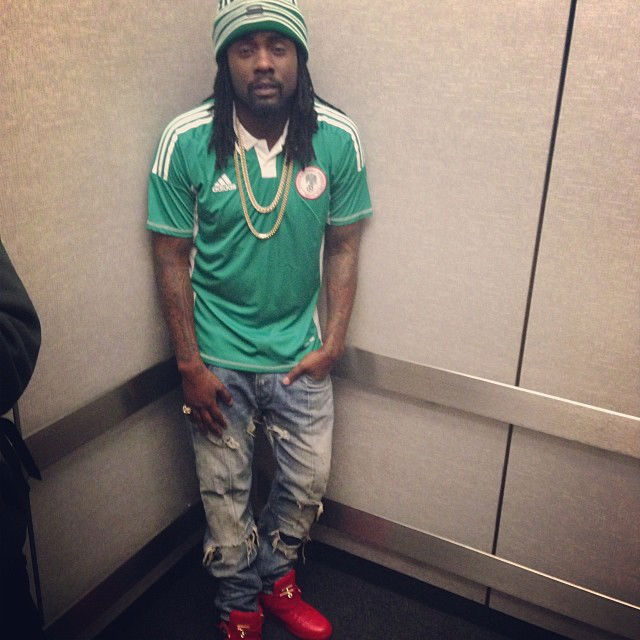 Wale wearing Buscemi 100mm Red
