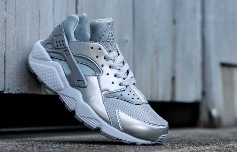 7eb7944bbd60 Shiny silver Huaraches for the women are showing up at retailers now.