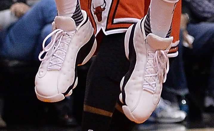 P.J. Tucker wearing the 'White Maize' Air Jordan 13 Low (1)