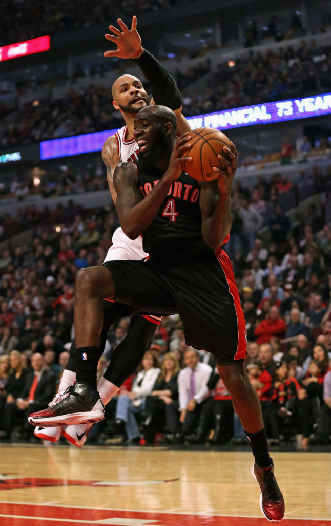Quincy Acy wearing adidas Rose 3.5 Away