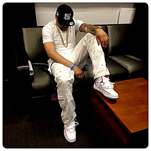 DJ Envy wearing Air Jordan II 2 White/Red