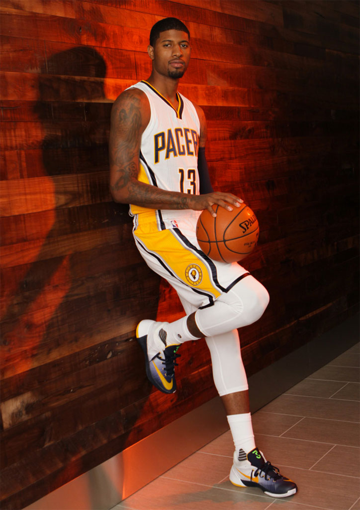 Paul George wearing a Nike Hyperdunk 2015 Low PE