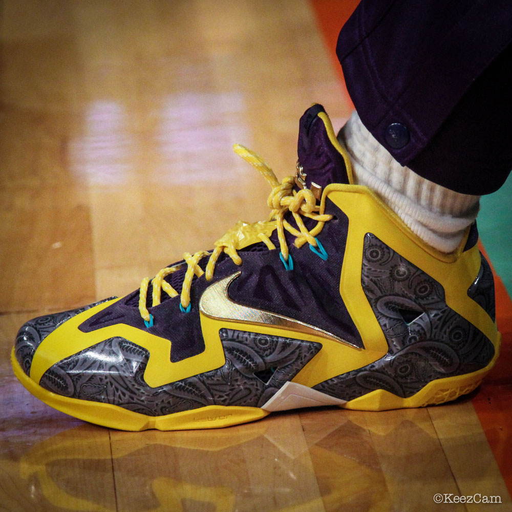 Candice Wiggins wearing Nike LeBron XI 11 Los Angeles Sparks PE