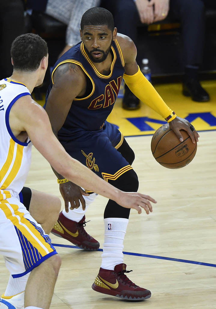 low priced 99ac4 84ce0 Kyrie Irving wearing a Wine Gold Nike Kyrie 1 PE for Game 1 of the
