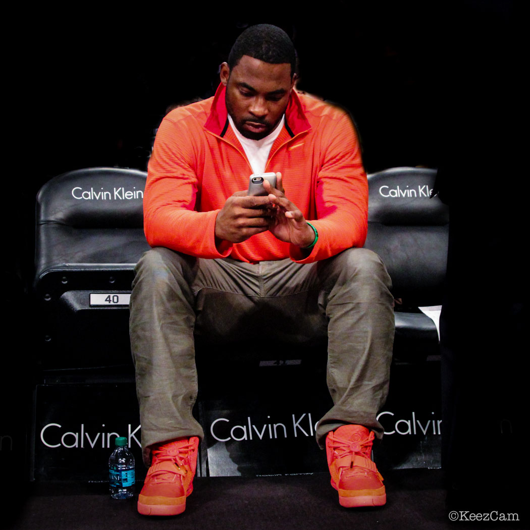 Justin Tuck wearing Nike Air Yeezy 2 Red October (2)
