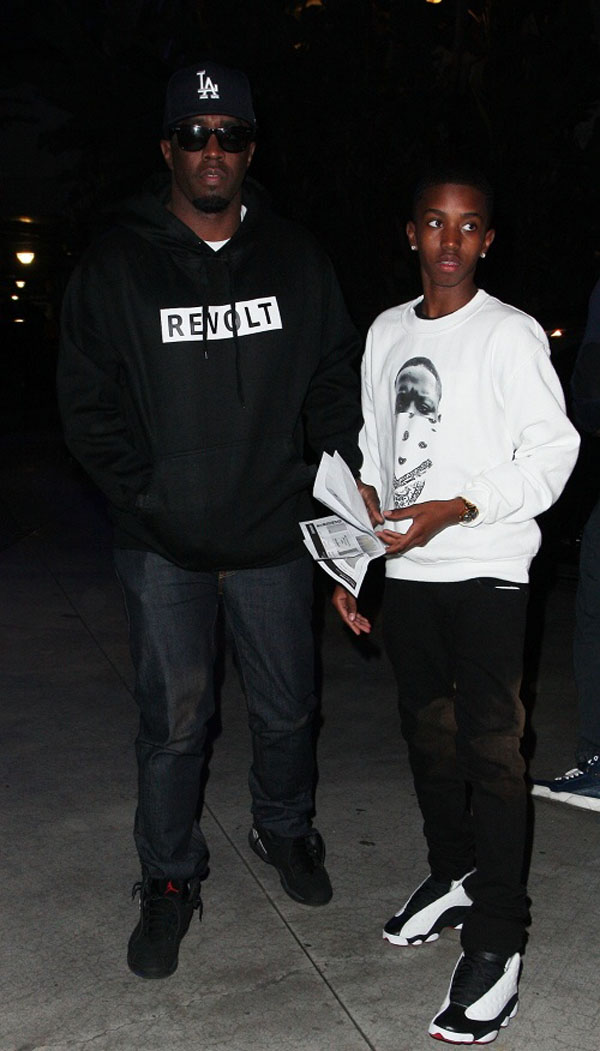 Diddy wearing Air Jordan 8 VIII Retro Playoffs