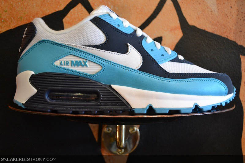 cheaper dabe2 fd55e Nike Air Max 90 White Chlorine Blue Obsidian 309299-129