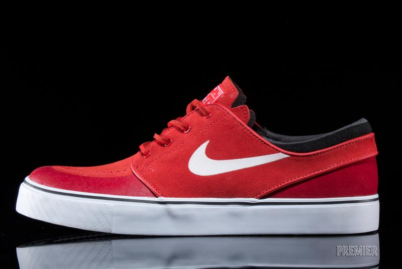 7ab84de89071 The Zoom Janoski PR SE is available now in this  Light Crimson Gym Red -Black-White  colorway now at select Nike Sb retailers