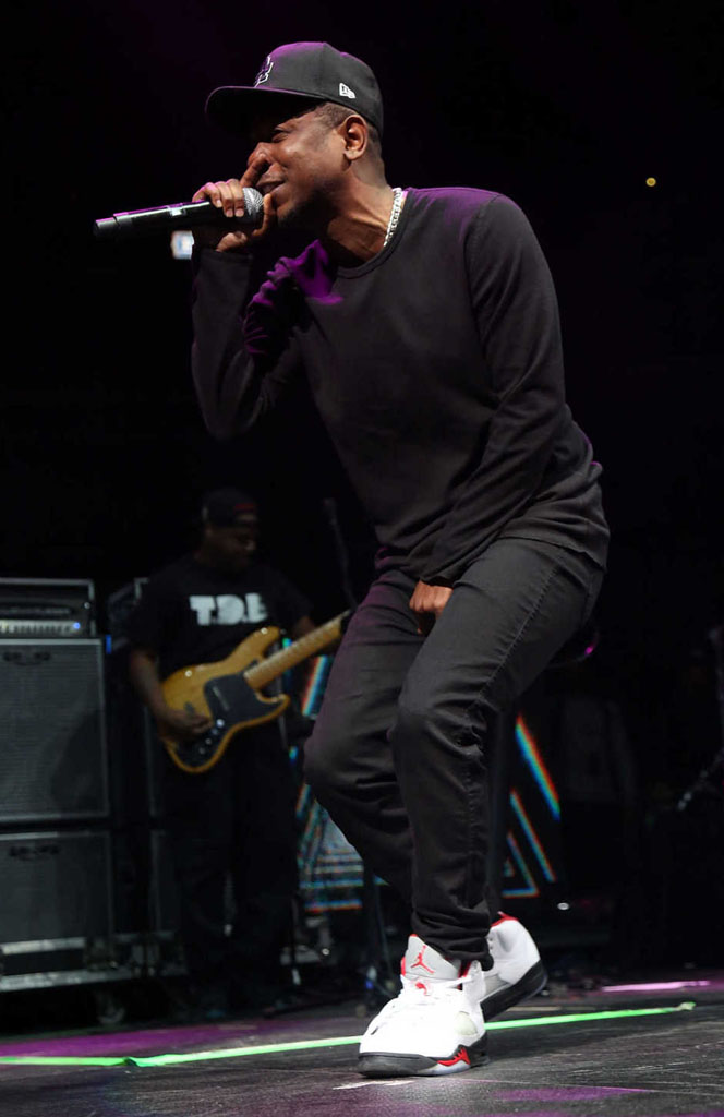 Kendrick Lamar wearing Air Jordan 5 V Retro Fire Red