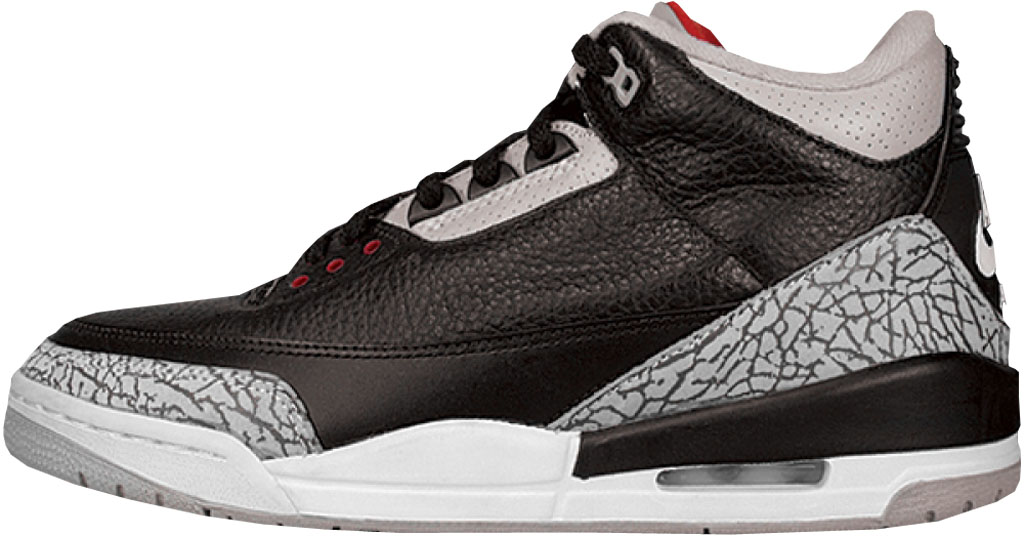 newest 7638f 2c81e Air Jordan 3 130203-001 Black Cement Grey