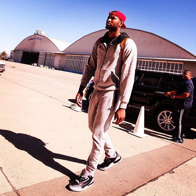 DeMarcus Cousins wearing Air Jordan III 3 Black Cement
