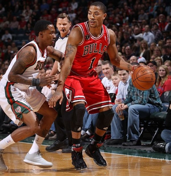 Derrick Rose wearing the adidas adiZero Rose 1.5 Black Patent