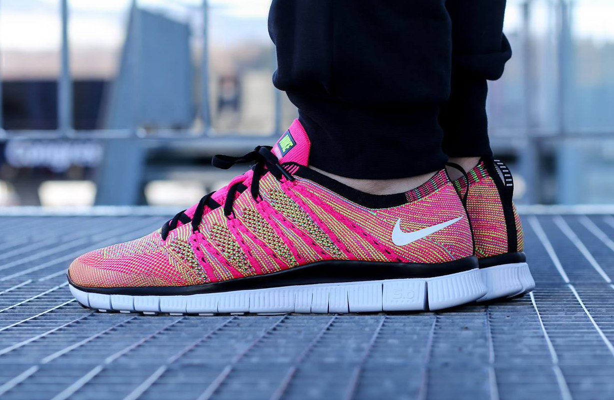 wholesale dealer 9dbf5 debc0 Nike Free Flyknit NSW Color Pink FlashWhite-Volt-Blue Glow Style   599459-600