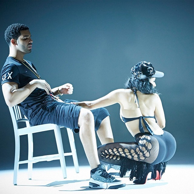 Drake wearing Air Jordan III 3 Unreleased in the Anaconda Video (1)