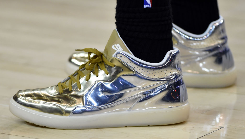 timeless design ae885 ec5af LeBron James wearing the  Liquid Metal  Nike Tiempo  94 Mid (1)
