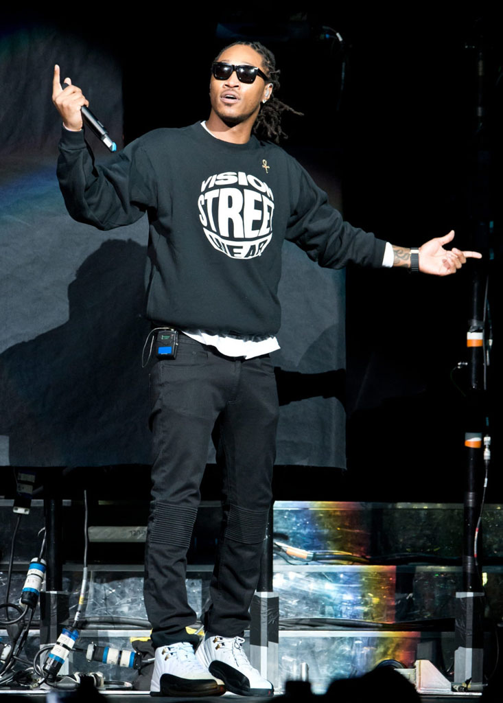 Future wearing Air Jordan 12 Taxi