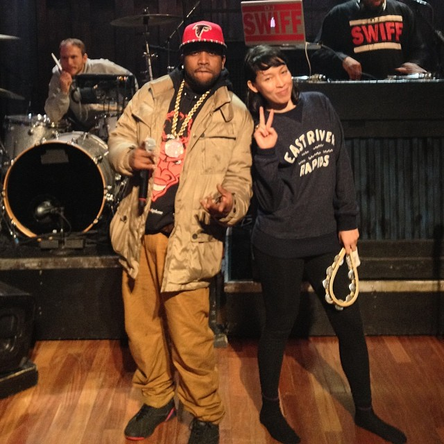 Big Boi wearing Air Jordan VII 7 Black/Red