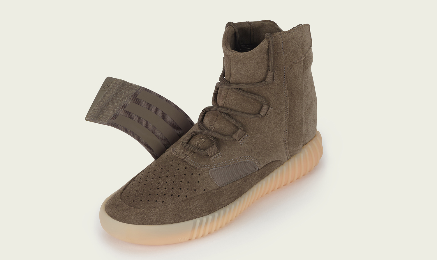 604e0bde559a Image via Adidas Chocolate Yeezy 750 Unstrapped
