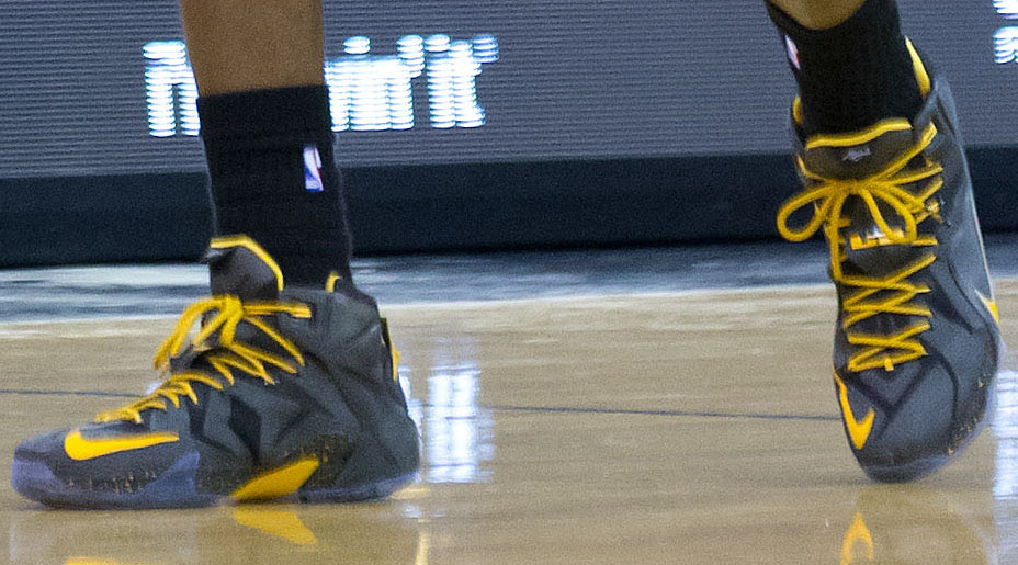 LeBron James Wearing Nike LeBron XII 12 Black/Yellow PE on November 5, 2014