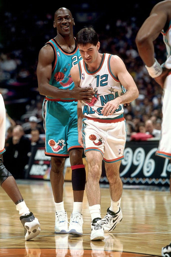 Michael Jordan wearing 'Columbia' Air Jordan XI 11 in the 1996 All-Star