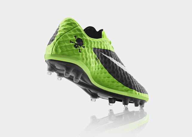 nike hypervenom flash lime colorway heel skull