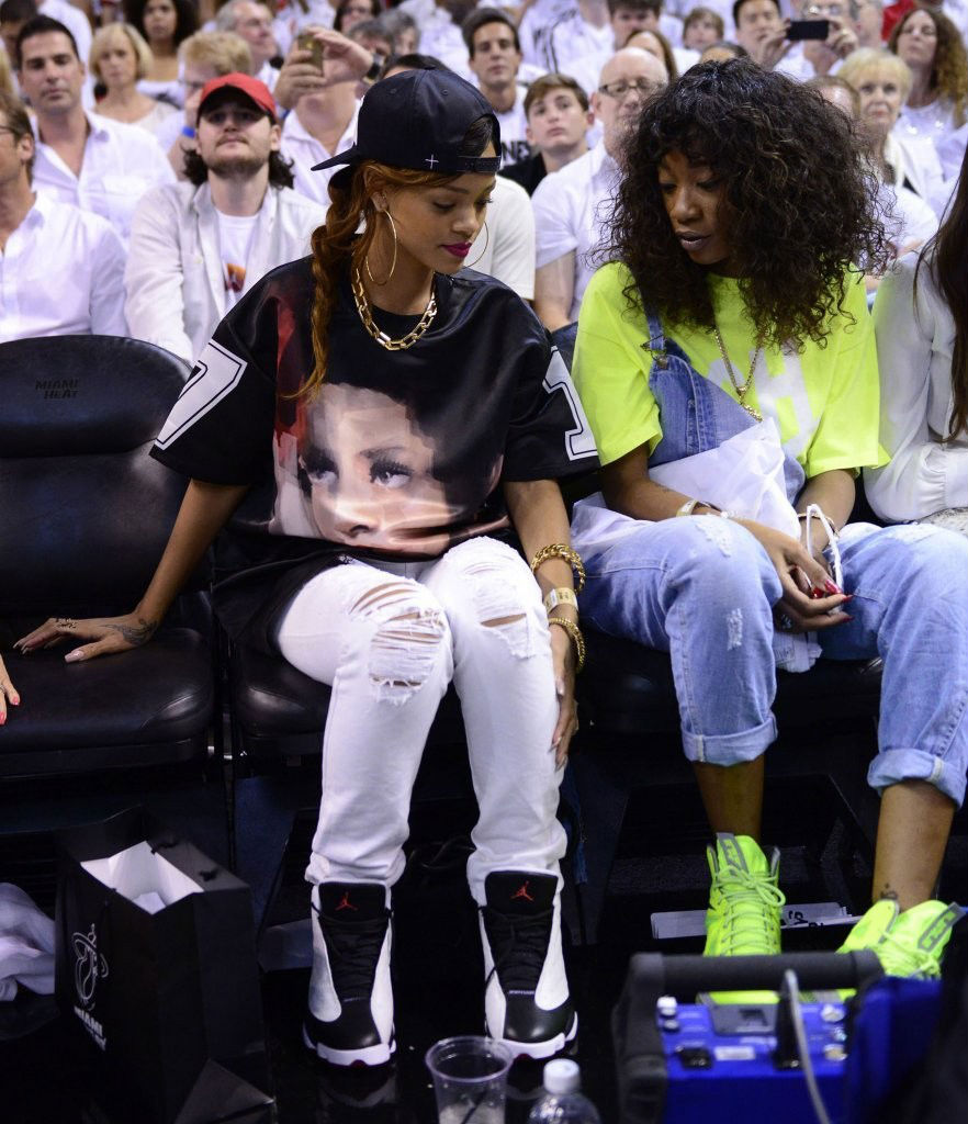 Rihanna wearing Air Jordan XIII 13 White Black He Got Game (3)