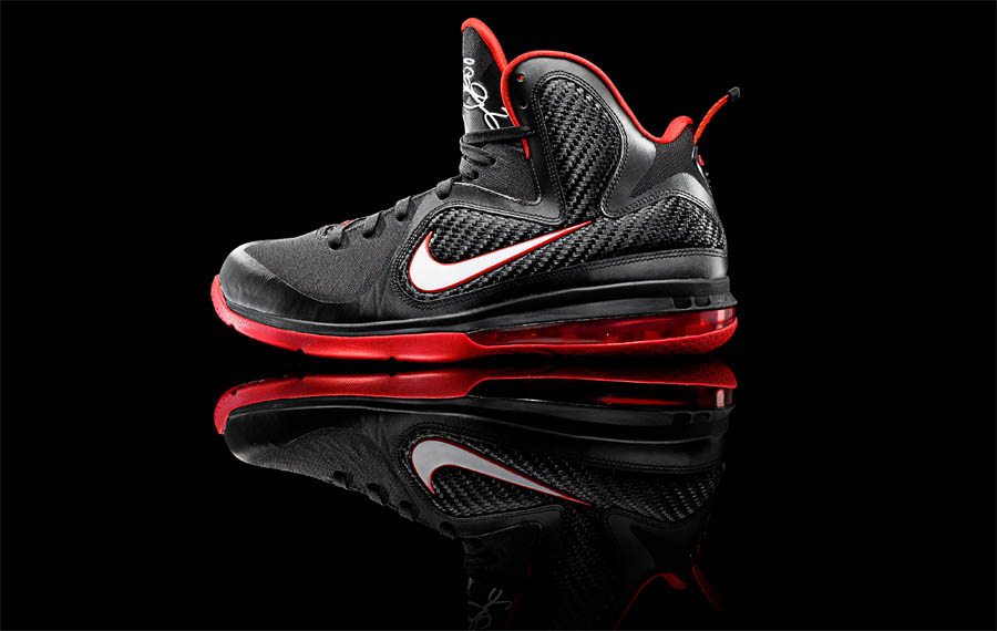 meet 65557 8ef60 Nike LeBron 9 IX Black White Sport Red 469764-003