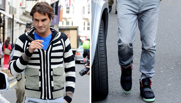 Roger Federer Wears the Nike Air Yeezy 2