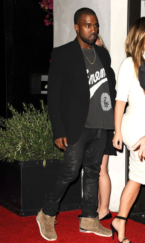 Kanye West wearing Visvim Folk FBT Shaman