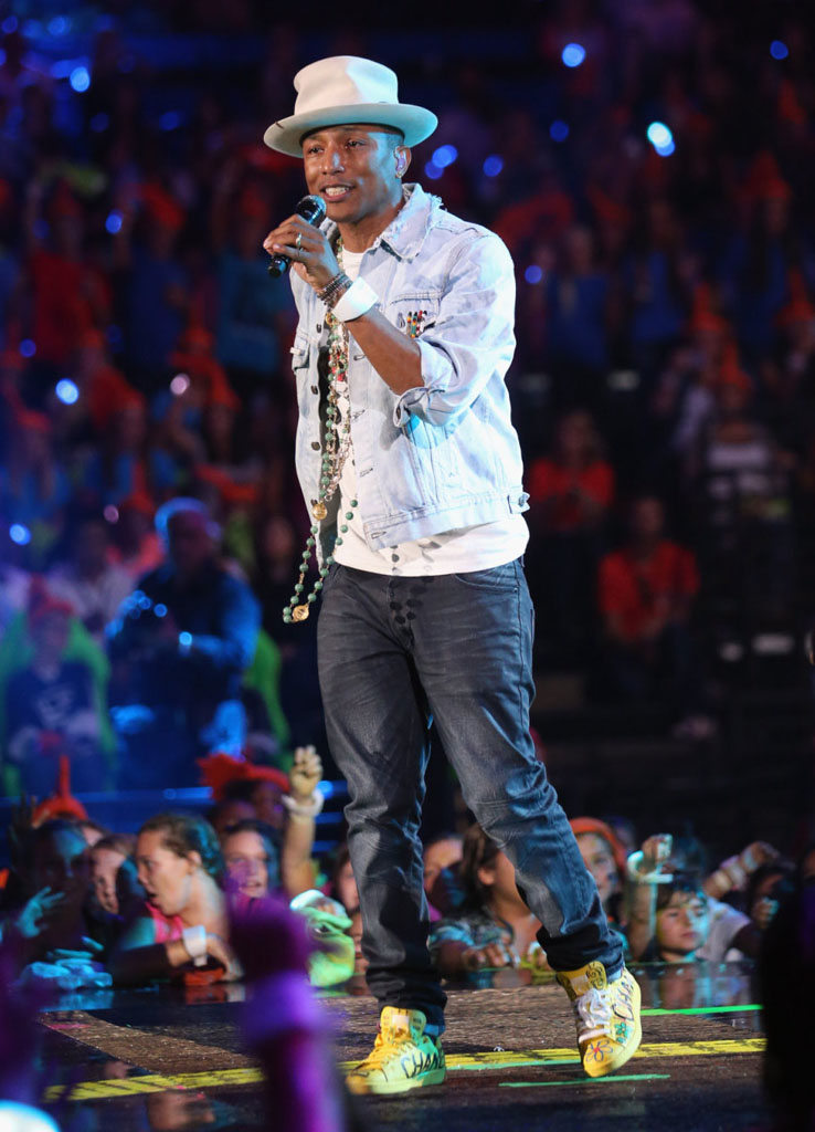 Pharrell Williams wearing adidas Originals Stan Smith Yellow
